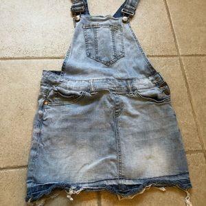 Dollhouse jean skirt overalls